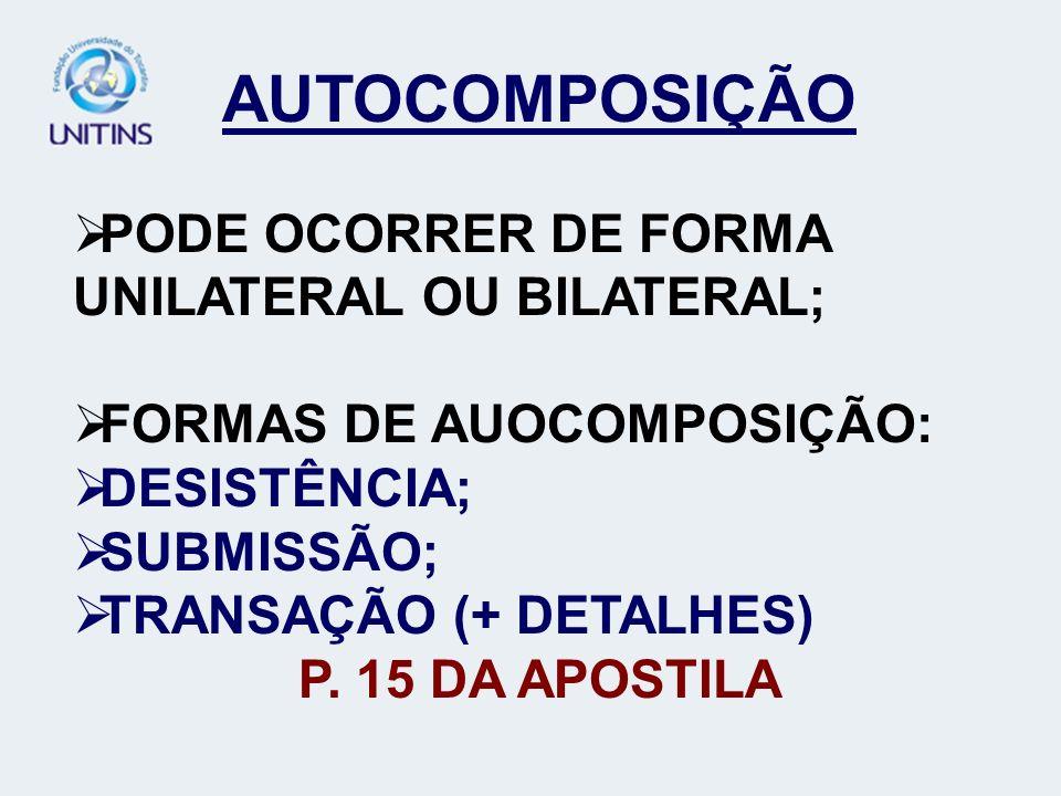 AUTOCOMPOSIÇÃO PODE OCORRER DE FORMA UNILATERAL OU BILATERAL; FORMAS DE AUOCOMPOSIÇÃO: DESISTÊNCIA; SUBMISSÃO; TRANSAÇÃO (+ DETALHES) P. 15 DA APOSTIL