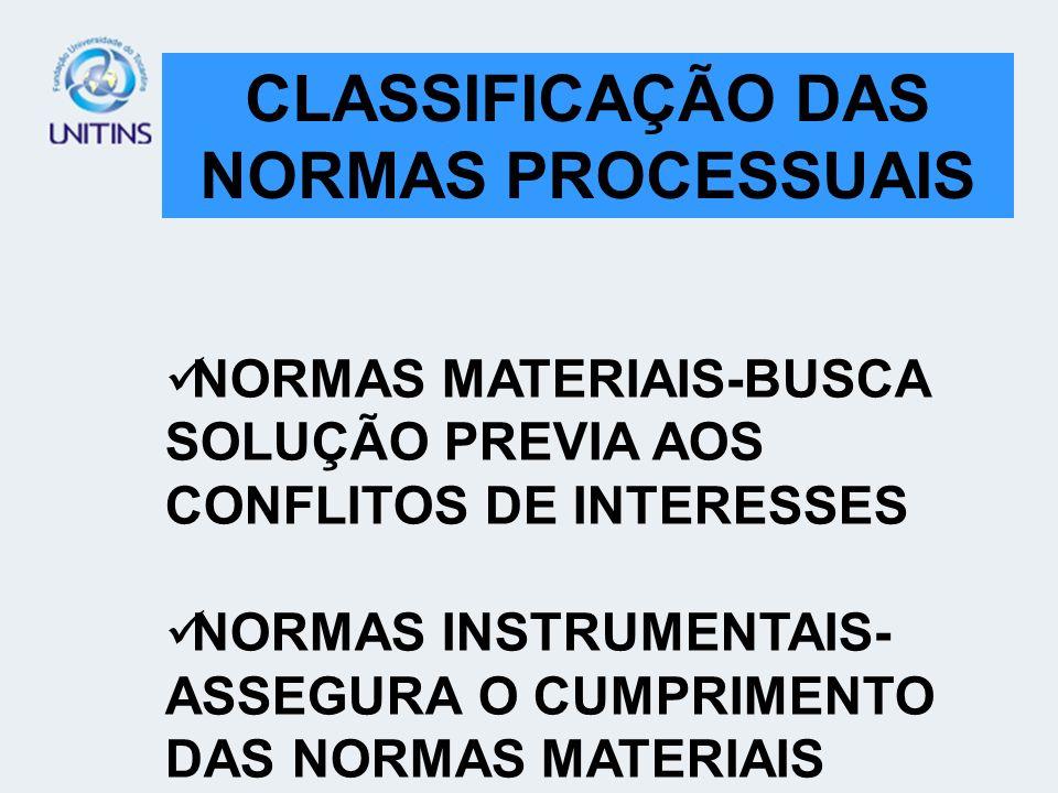 NORMAS MATERIAIS NORMAS INSTRUMENTAIS CLASSIFICAÇÃO DAS NORMAS PROCESSUAIS NORMAS MATERIAIS-BUSCA SOLUÇÃO PREVIA AOS CONFLITOS DE INTERESSES NORMAS IN