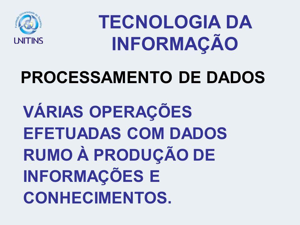 TECNOLOGIA DA INFORMAÇÃO PROCESSAMENTO DE DADOS VÁRIAS OPERAÇÕES EFETUADAS COM DADOS RUMO À PRODUÇÃO DE INFORMAÇÕES E CONHECIMENTOS.