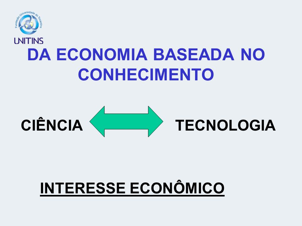 DA ECONOMIA BASEADA NO CONHECIMENTO CIÊNCIA TECNOLOGIA INTERESSE ECONÔMICO
