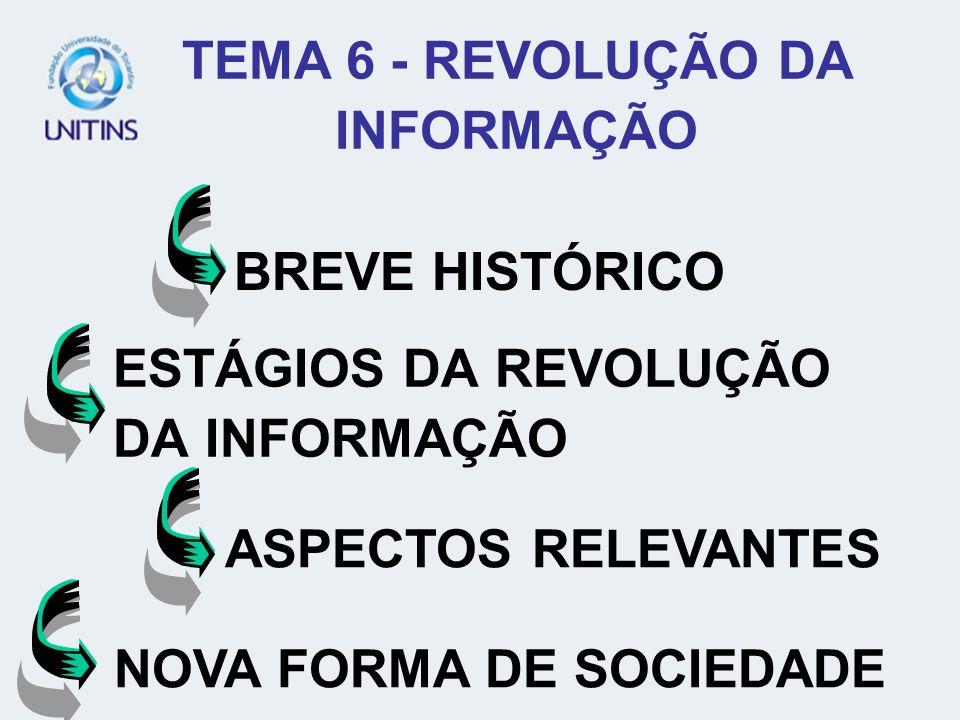 ESTÁGIOS DA REVOLUÇÃO DA INFORMAÇÃO ASPECTOS RELEVANTES BREVE HISTÓRICO NOVA FORMA DE SOCIEDADE TEMA 6 - REVOLUÇÃO DA INFORMAÇÃO