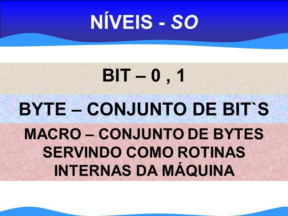 NÍVEIS (SO) ASSEMBLY – LINGUAGEM DE BAIXO NÍVEL APLICATIVOS – WORD, EXCEL...