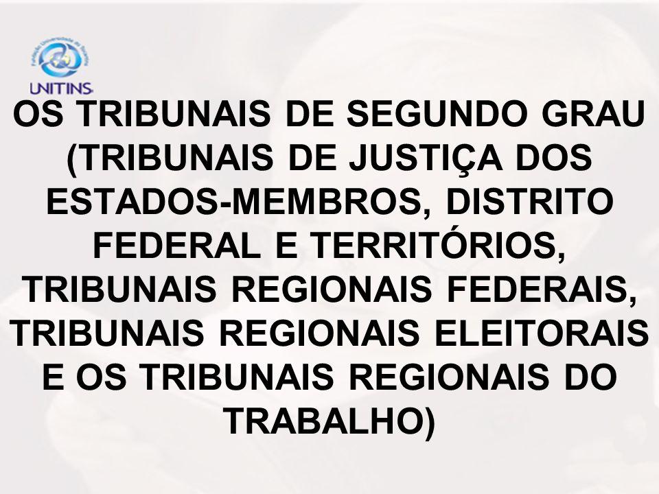 OS TRIBUNAIS DE SEGUNDO GRAU (TRIBUNAIS DE JUSTIÇA DOS ESTADOS-MEMBROS, DISTRITO FEDERAL E TERRITÓRIOS, TRIBUNAIS REGIONAIS FEDERAIS, TRIBUNAIS REGION