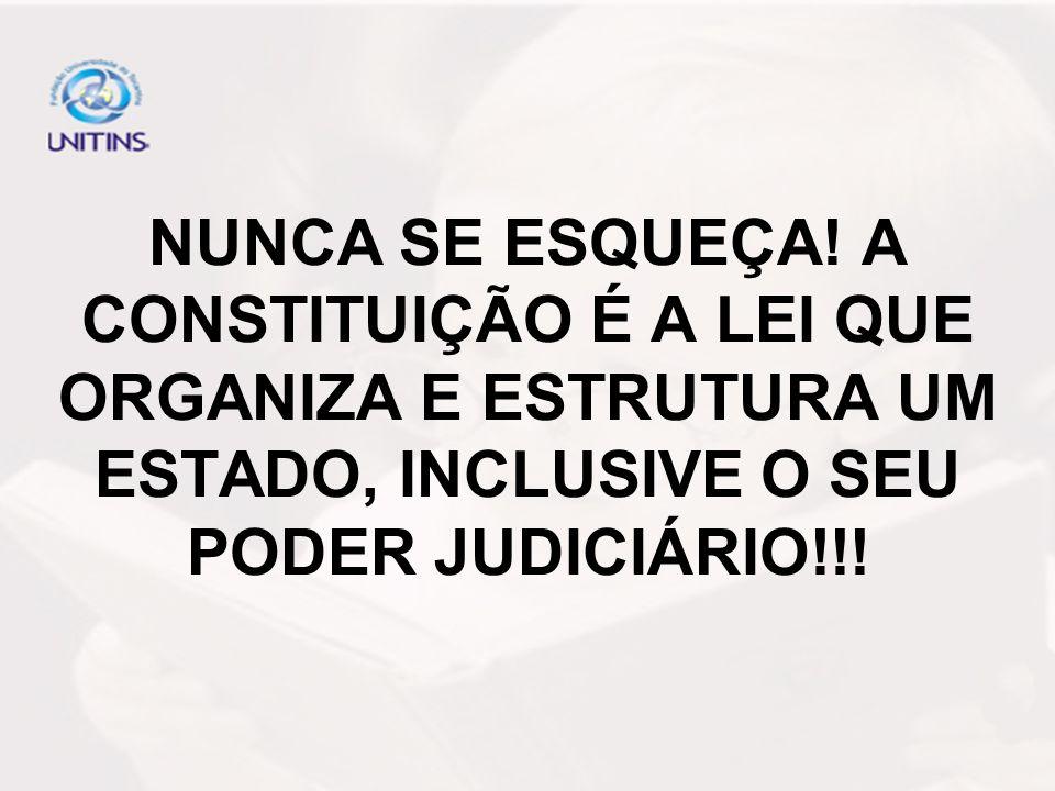 NUNCA SE ESQUEÇA! A CONSTITUIÇÃO É A LEI QUE ORGANIZA E ESTRUTURA UM ESTADO, INCLUSIVE O SEU PODER JUDICIÁRIO!!!