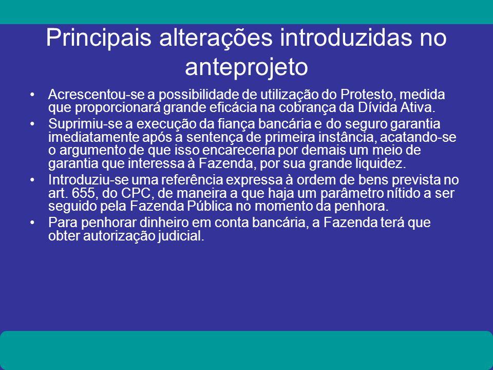 Principais alterações introduzidas no anteprojeto Acrescentou-se a possibilidade de utilização do Protesto, medida que proporcionará grande eficácia n