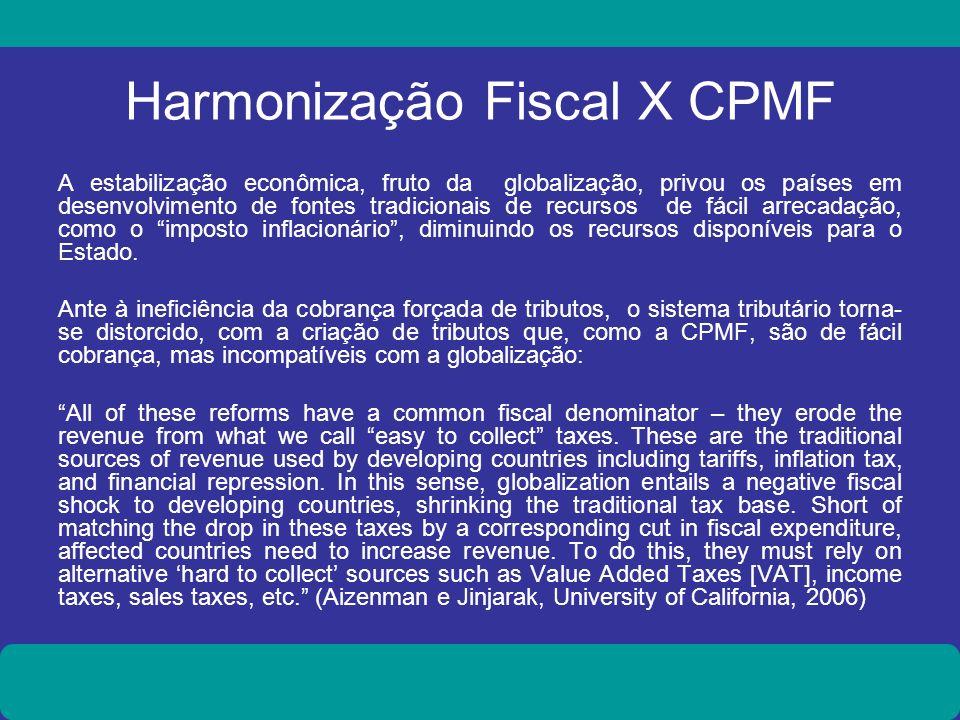 Harmonização Fiscal X CPMF A estabilização econômica, fruto da globalização, privou os países em desenvolvimento de fontes tradicionais de recursos de