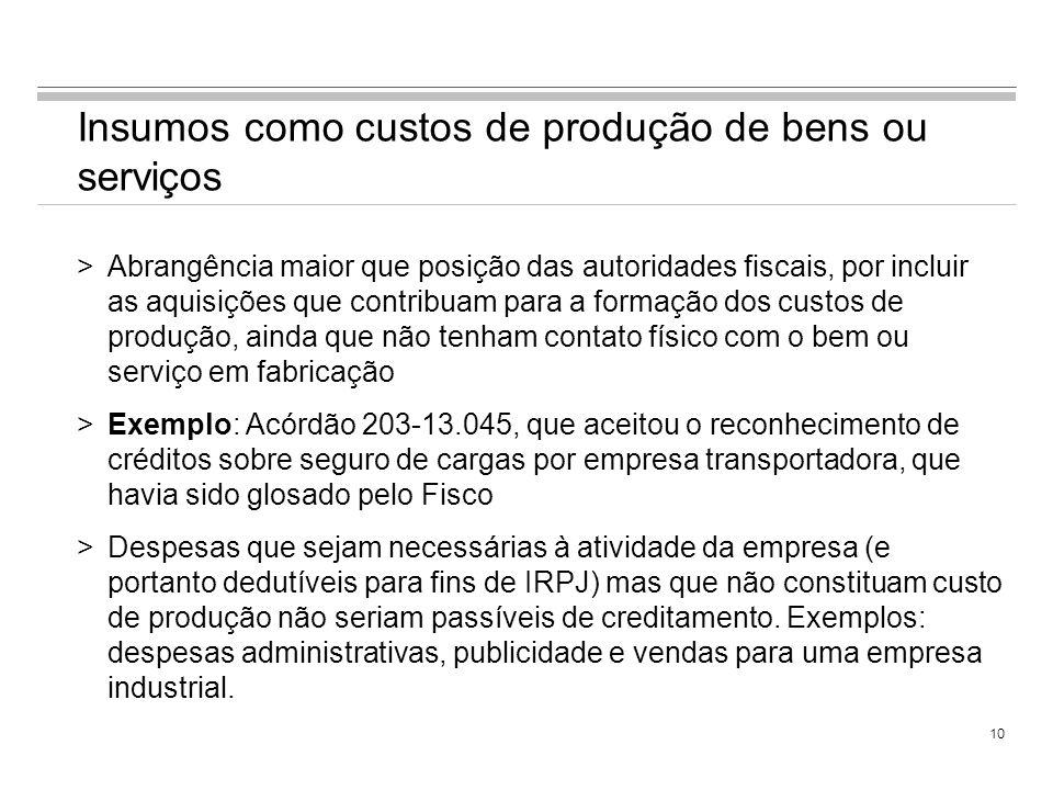 9 Posição das autoridades fiscais (cont.) >Entendimento também aceito por alguns precedentes do Segundo Conselho de Contribuintes (atual CARF) >Acórdã