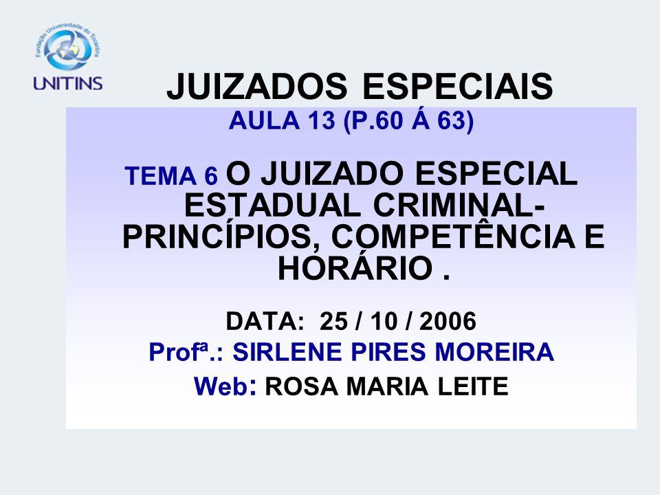 JUIZADOS ESPECIAIS AULA 13 (P.60 Á 63) TEMA 6 O JUIZADO ESPECIAL ESTADUAL CRIMINAL- PRINCÍPIOS, COMPETÊNCIA E HORÁRIO. DATA: 25 / 10 / 2006 Profª.: SI