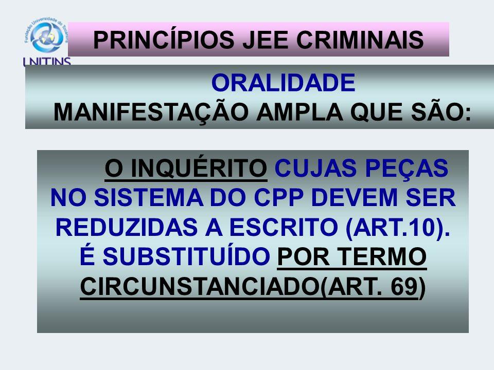 ORALIDADE MANIFESTAÇÃO AMPLA QUE SÃO: D PRINCÍPIOS JEE CRIMINAIS O INQUÉRITO CUJAS PEÇAS NO SISTEMA DO CPP DEVEM SER REDUZIDAS A ESCRITO (ART.10). É S