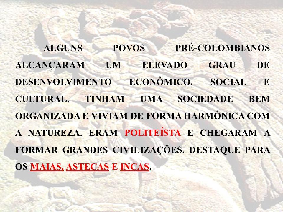 ALGUNS POVOS PRÉ-COLOMBIANOS ALCANÇARAM UM ELEVADO GRAU DE DESENVOLVIMENTO ECONÔMICO, SOCIAL E CULTURAL. TINHAM UMA SOCIEDADE BEM ORGANIZADA E VIVIAM