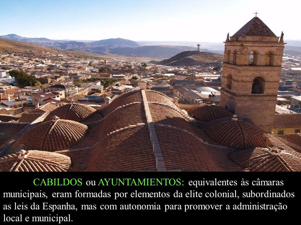 CABILDOS ou AYUNTAMIENTOS: equivalentes às câmaras municipais, eram formadas por elementos da elite colonial, subordinados as leis da Espanha, mas com
