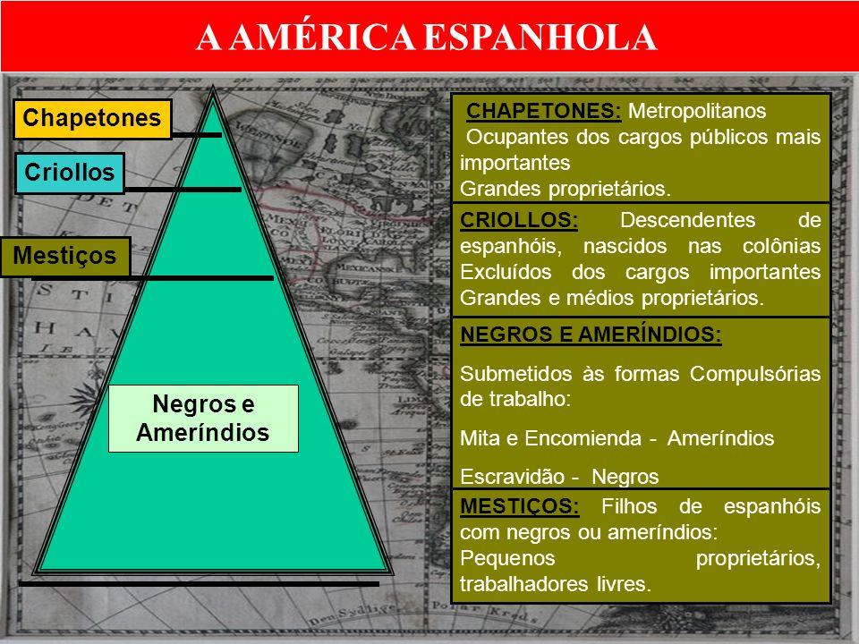 A AMÉRICA ESPANHOLA Chapetones Criollos Mestiços Negros e Ameríndios CHAPETONES: Metropolitanos Ocupantes dos cargos públicos mais importantes Grandes