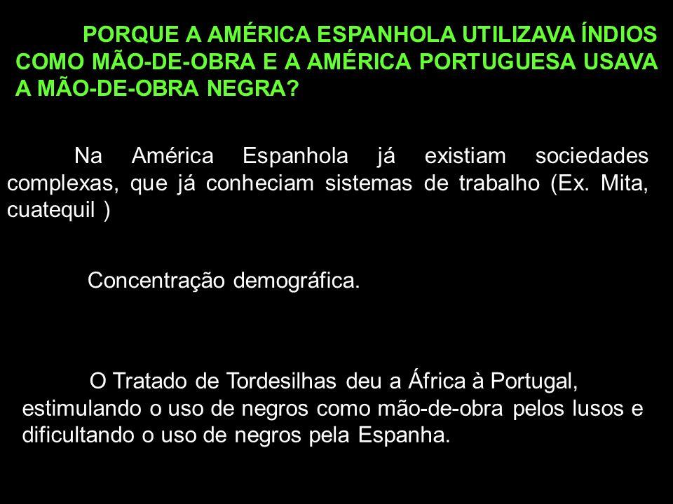 PORQUE A AMÉRICA ESPANHOLA UTILIZAVA ÍNDIOS COMO MÃO-DE-OBRA E A AMÉRICA PORTUGUESA USAVA A MÃO-DE-OBRA NEGRA? Na América Espanhola já existiam socied