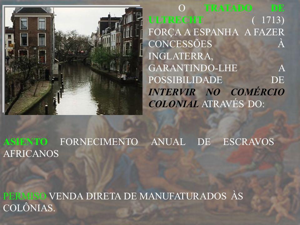 O TRATADO DE ULTRECHT ( 1713) FORÇA A ESPANHA A FAZER CONCESSÕES À INGLATERRA, GARANTINDO-LHE A POSSIBILIDADE DE INTERVIR NO COMÉRCIO COLONIAL ATRAVÉS