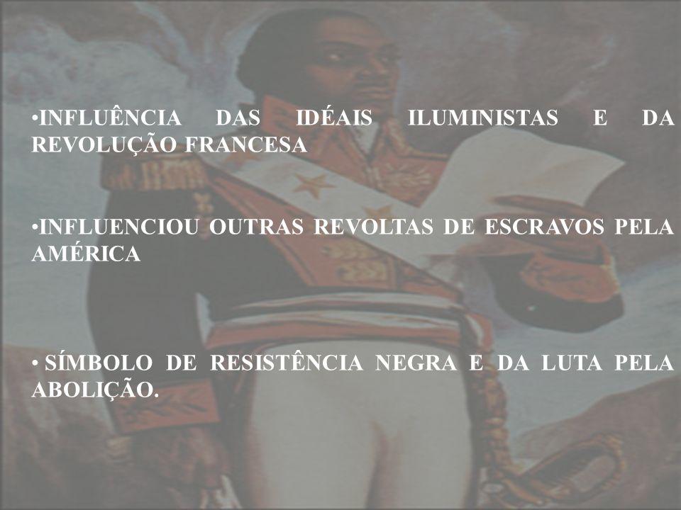 INFLUÊNCIA DAS IDÉAIS ILUMINISTAS E DA REVOLUÇÃO FRANCESA INFLUENCIOU OUTRAS REVOLTAS DE ESCRAVOS PELA AMÉRICA SÍMBOLO DE RESISTÊNCIA NEGRA E DA LUTA