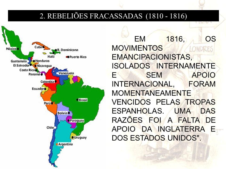 EM 1816, OS MOVIMENTOS EMANCIPACIONISTAS, ISOLADOS INTERNAMENTE E SEM APOIO INTERNACIONAL, FORAM MOMENTANEAMENTE VENCIDOS PELAS TROPAS ESPANHOLAS. UMA