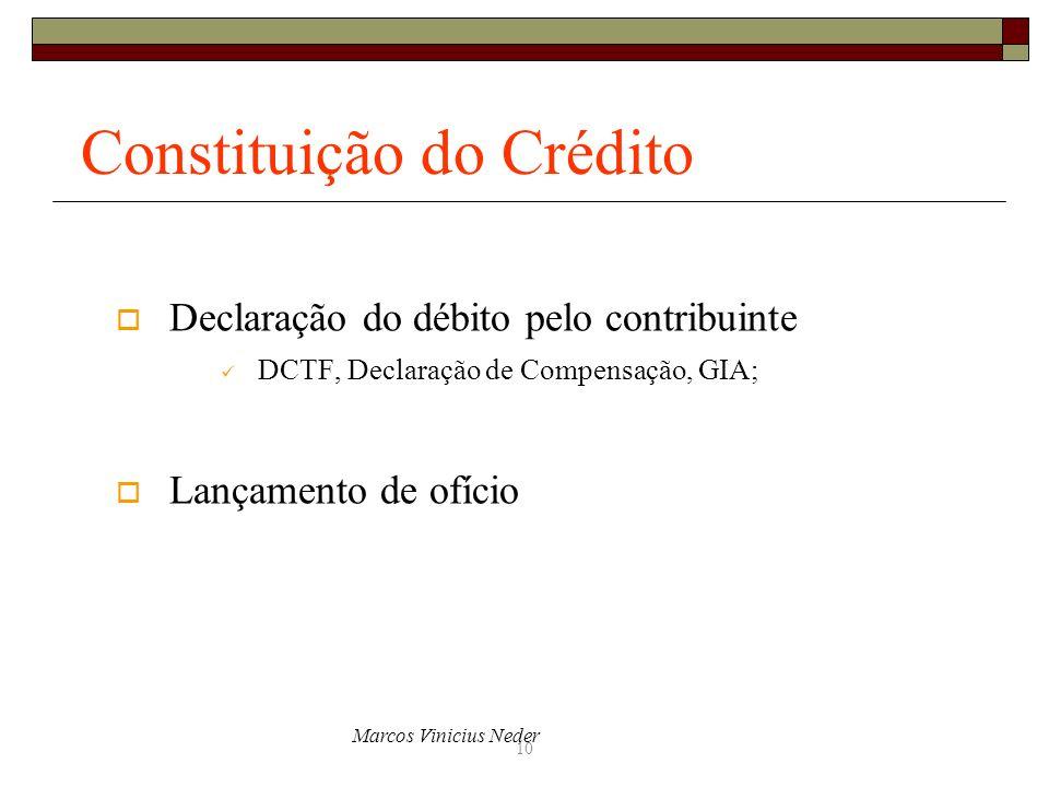 Marcos Vinicius Neder 10 Constituição do Crédito Declaração do débito pelo contribuinte DCTF, Declaração de Compensação, GIA; Lançamento de ofício