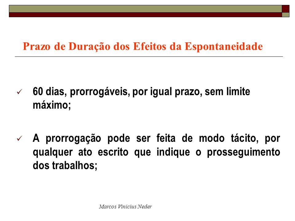 Marcos Vinicius Neder Prazo de Duração dos Efeitos da Espontaneidade 60 dias, prorrogáveis, por igual prazo, sem limite máximo; A prorrogação pode ser