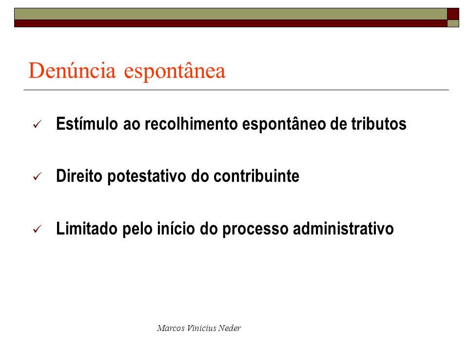 Denúncia espontânea Estímulo ao recolhimento espontâneo de tributos Direito potestativo do contribuinte Limitado pelo início do processo administrativ
