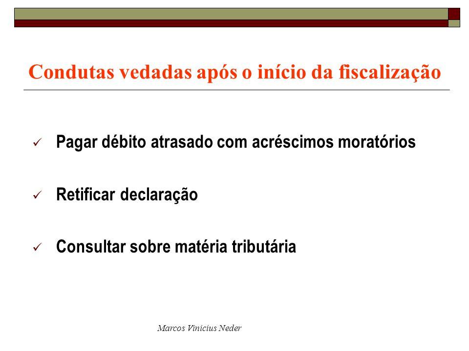 Marcos Vinicius Neder Condutas vedadas após o início da fiscalização Pagar débito atrasado com acréscimos moratórios Retificar declaração Consultar so