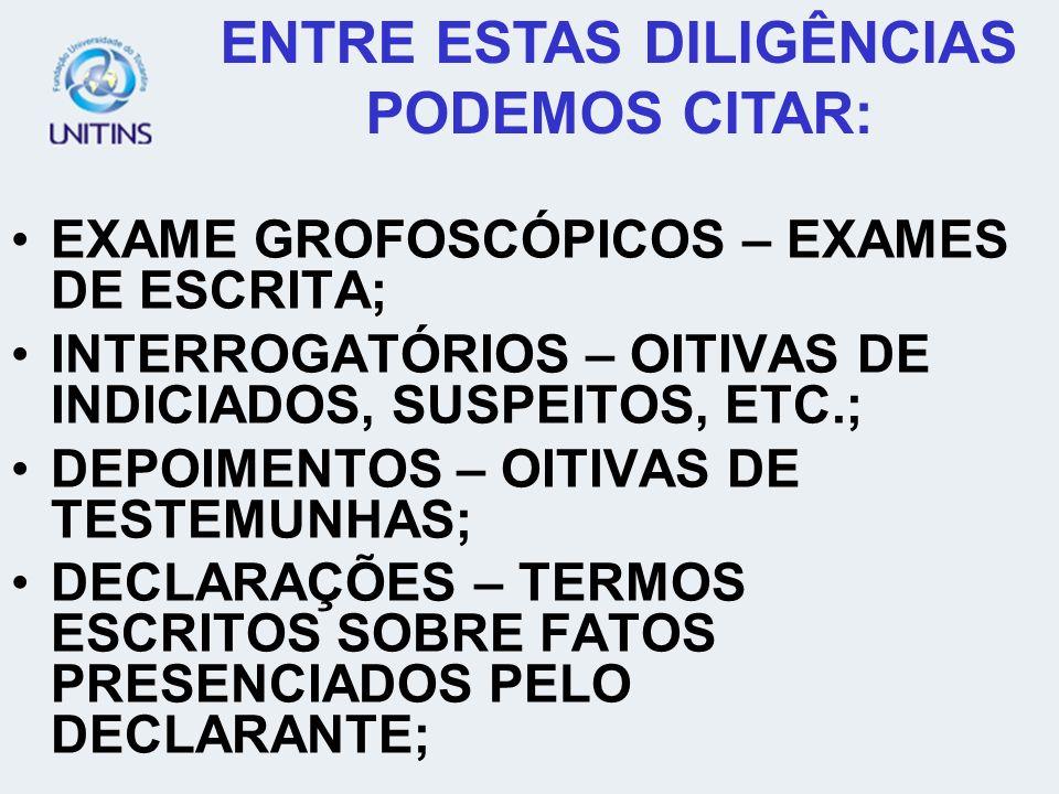 EXAME GROFOSCÓPICOS – EXAMES DE ESCRITA; INTERROGATÓRIOS – OITIVAS DE INDICIADOS, SUSPEITOS, ETC.; DEPOIMENTOS – OITIVAS DE TESTEMUNHAS; DECLARAÇÕES –