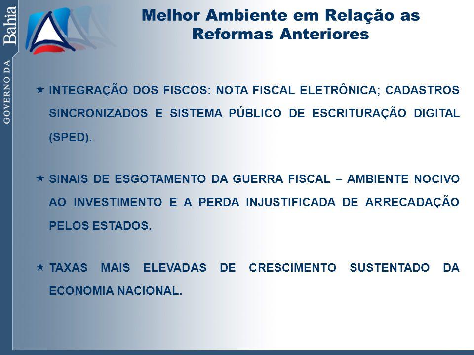 Melhor Ambiente em Relação as Reformas Anteriores INTEGRAÇÃO DOS FISCOS: NOTA FISCAL ELETRÔNICA; CADASTROS SINCRONIZADOS E SISTEMA PÚBLICO DE ESCRITUR