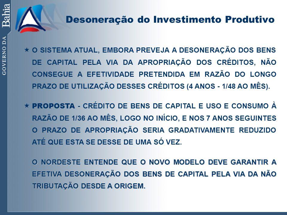 Desoneração do Investimento Produtivo O SISTEMA ATUAL, EMBORA PREVEJA A DESONERAÇÃO DOS BENS DE CAPITAL PELA VIA DA APROPRIAÇÃO DOS CRÉDITOS, NÃO CONS