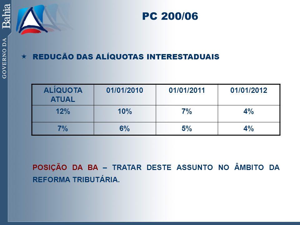 PC 200/06 REDUCÃO DAS ALÍQUOTAS INTERESTADUAIS POSIÇÃO DA BA – TRATAR DESTE ASSUNTO NO ÂMBITO DA REFORMA TRIBUTÁRIA. ALÍQUOTA ATUAL 01/01/201001/01/20