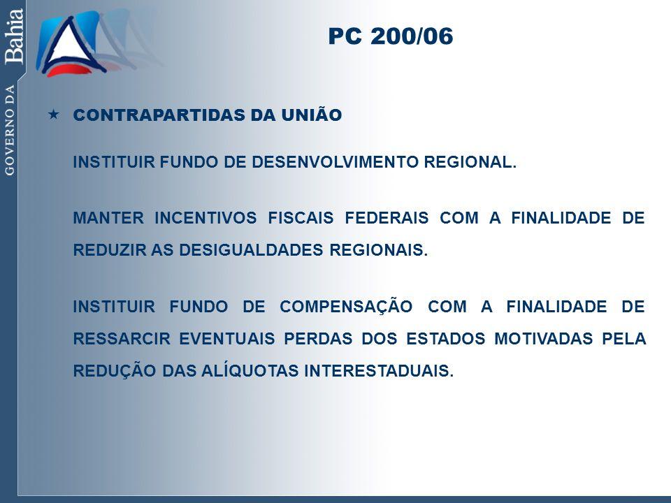 PC 200/06 CONTRAPARTIDAS DA UNIÃO INSTITUIR FUNDO DE DESENVOLVIMENTO REGIONAL. MANTER INCENTIVOS FISCAIS FEDERAIS COM A FINALIDADE DE REDUZIR AS DESIG