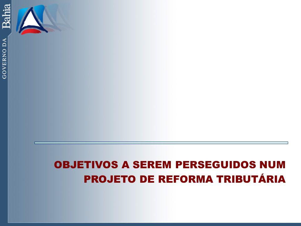 Principais Objetivos SIMPLIFICAÇÃO E DESBUROCRATIZAÇÃO DO SISTEMA TRIBUTÁRIO NEUTRALIDADE EM RELAÇÃO A ALOCAÇÃO DE INVESTIMENTOS (FIM DA GUERRA FISCAL) REDISTRIBUIÇÃO DAS RECEITAS ENTRE OS ENTES FEDERADOS PROPORCIONALMENTE ÀS SUAS RESPONSABILIDADES DESONERAÇÃO DAS EXPORTAÇÕES REDUÇÃO DA REGRESSIVIDADE E PROMOÇÃO DE JUSTIÇA FISCAL AMPLIAÇÃO DO UNIVERSO DE CONTRIBUINTES ELEVAÇÃO DO INVESTIMENTO PRODUTIVO GERAÇÃO DE EMPREGO E RENDA