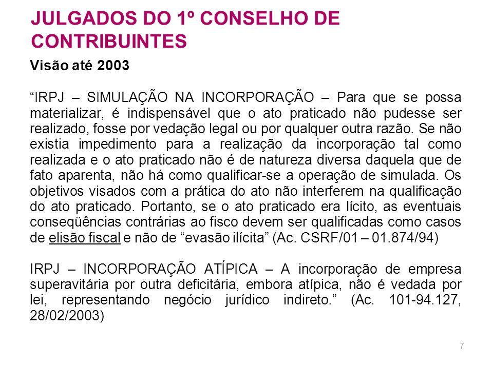 6 LICITUDE DO ATO JURÍDICO Visão do Conselho de Contribuintes até 2003 princípio da tipicidade e da estrita legalidade cumprimento dos requisitos form