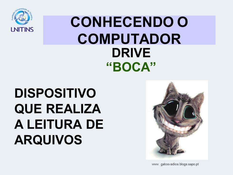 CONHECENDO O COMPUTADOR DRIVE BOCA DISPOSITIVO QUE REALIZA A LEITURA DE ARQUIVOS www. gatosvadios.blogs.sapo.pt