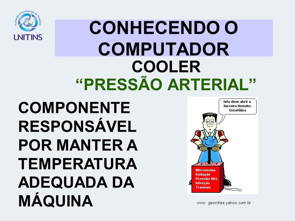 CONHECENDO O COMPUTADOR COOLER PRESSÃO ARTERIAL COMPONENTE RESPONSÁVEL POR MANTER A TEMPERATURA ADEQUADA DA MÁQUINA www. geocities.yahoo.com.br