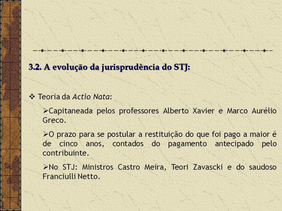 3.2. A evolução da jurisprudência do STJ: Teoria da Actio Nata: Capitaneada pelos professores Alberto Xavier e Marco Aurélio Greco. O prazo para se po