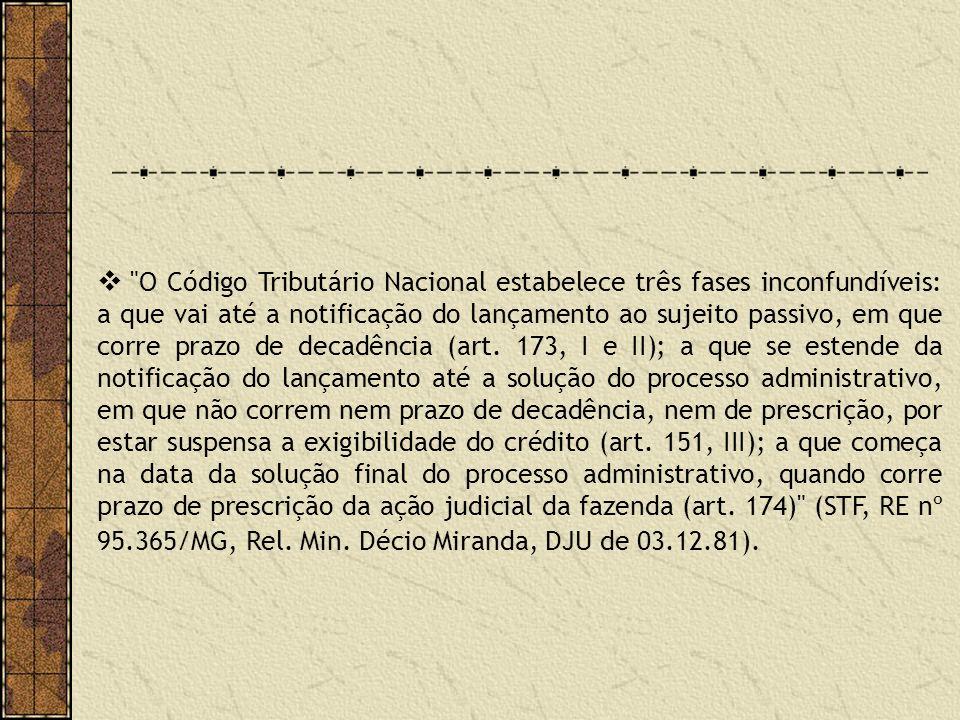 O Código Tributário Nacional estabelece três fases inconfundíveis: a que vai até a notificação do lançamento ao sujeito passivo, em que corre prazo de decadência (art.