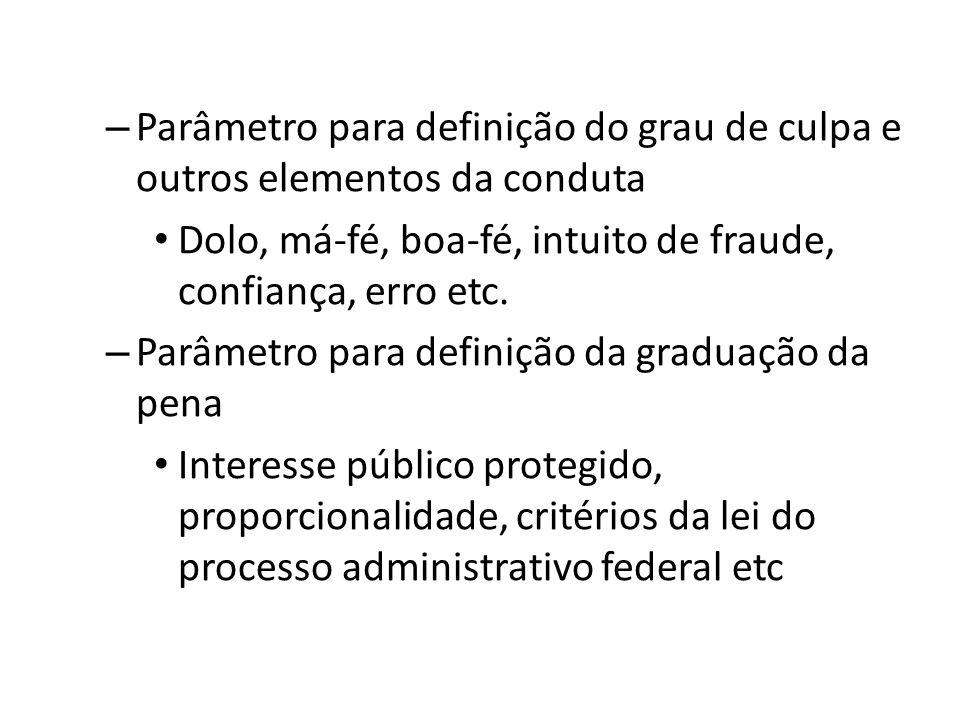 – Parâmetro para definição do grau de culpa e outros elementos da conduta Dolo, má-fé, boa-fé, intuito de fraude, confiança, erro etc. – Parâmetro par