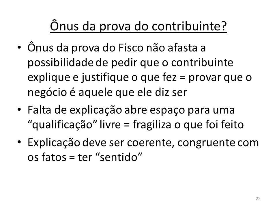 22 Ônus da prova do contribuinte? Ônus da prova do Fisco não afasta a possibilidade de pedir que o contribuinte explique e justifique o que fez = prov
