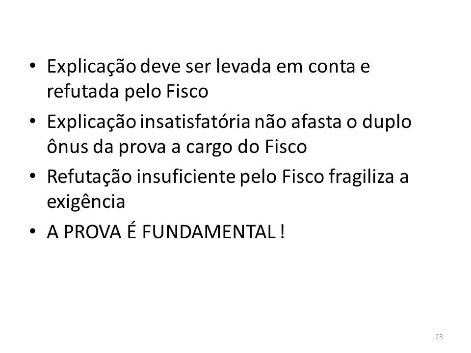 23 Explicação deve ser levada em conta e refutada pelo Fisco Explicação insatisfatória não afasta o duplo ônus da prova a cargo do Fisco Refutação ins