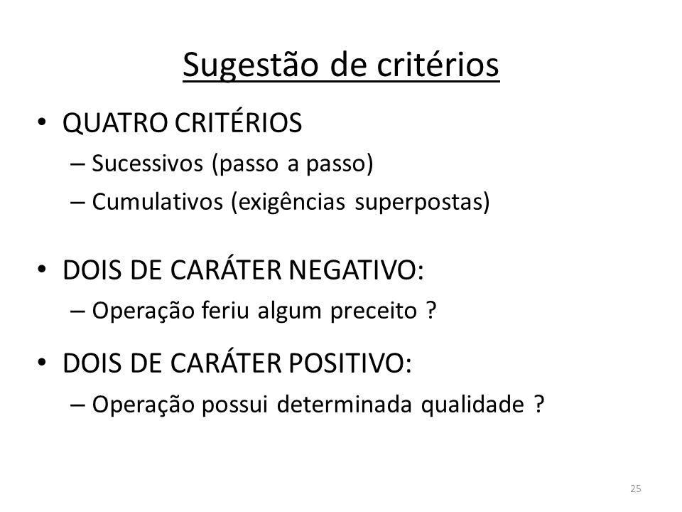 25 Sugestão de critérios QUATRO CRITÉRIOS – Sucessivos (passo a passo) – Cumulativos (exigências superpostas) DOIS DE CARÁTER NEGATIVO: – Operação fer