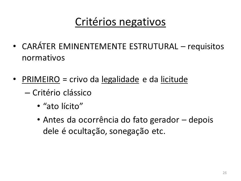 26 Critérios negativos CARÁTER EMINENTEMENTE ESTRUTURAL – requisitos normativos PRIMEIRO = crivo da legalidade e da licitude – Critério clássico ato l