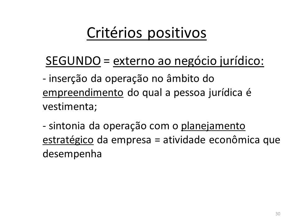 30 Critérios positivos SEGUNDO = externo ao negócio jurídico: - inserção da operação no âmbito do empreendimento do qual a pessoa jurídica é vestiment
