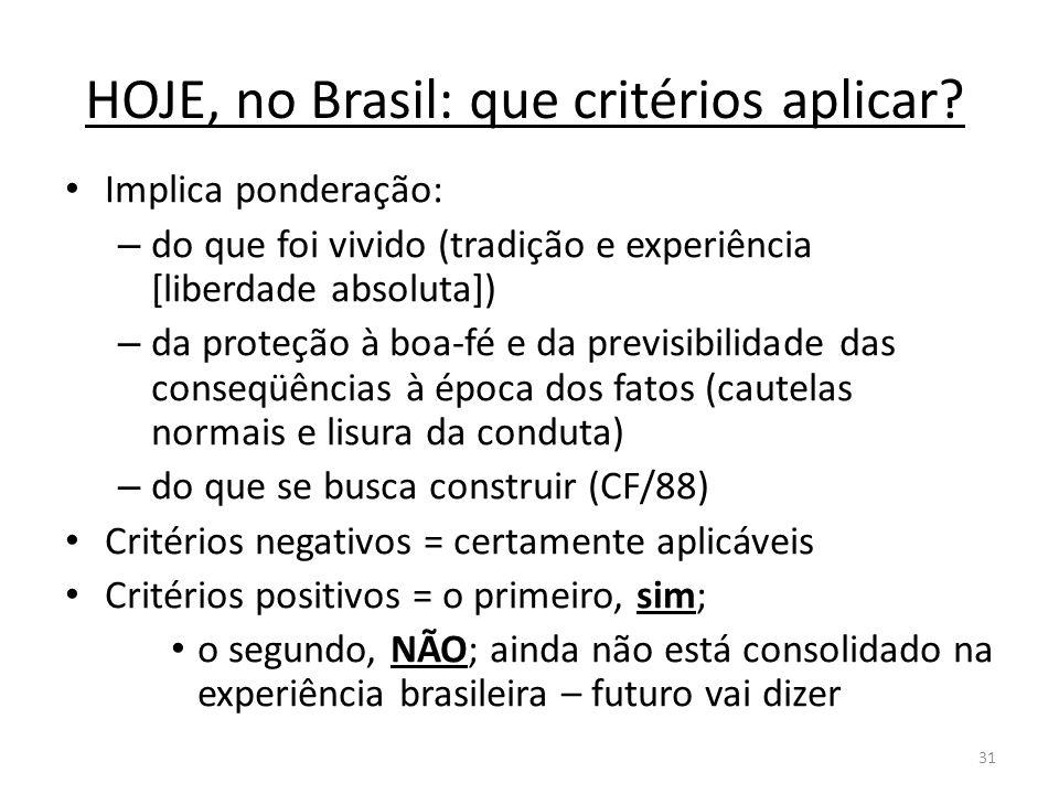 31 HOJE, no Brasil: que critérios aplicar? Implica ponderação: – do que foi vivido (tradição e experiência [liberdade absoluta]) – da proteção à boa-f