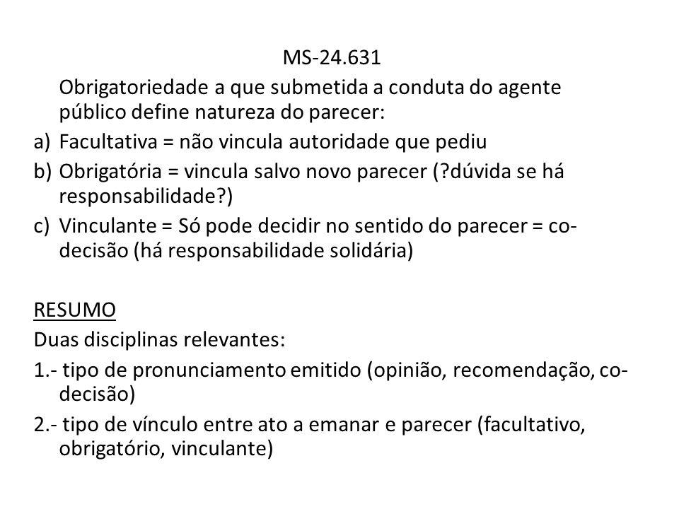 MS-24.631 Obrigatoriedade a que submetida a conduta do agente público define natureza do parecer: a)Facultativa = não vincula autoridade que pediu b)O