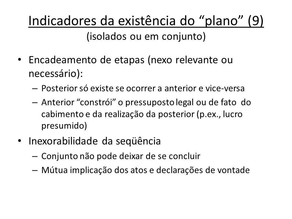 Indicadores da existência do plano (9) (isolados ou em conjunto) Encadeamento de etapas (nexo relevante ou necessário): – Posterior só existe se ocorr