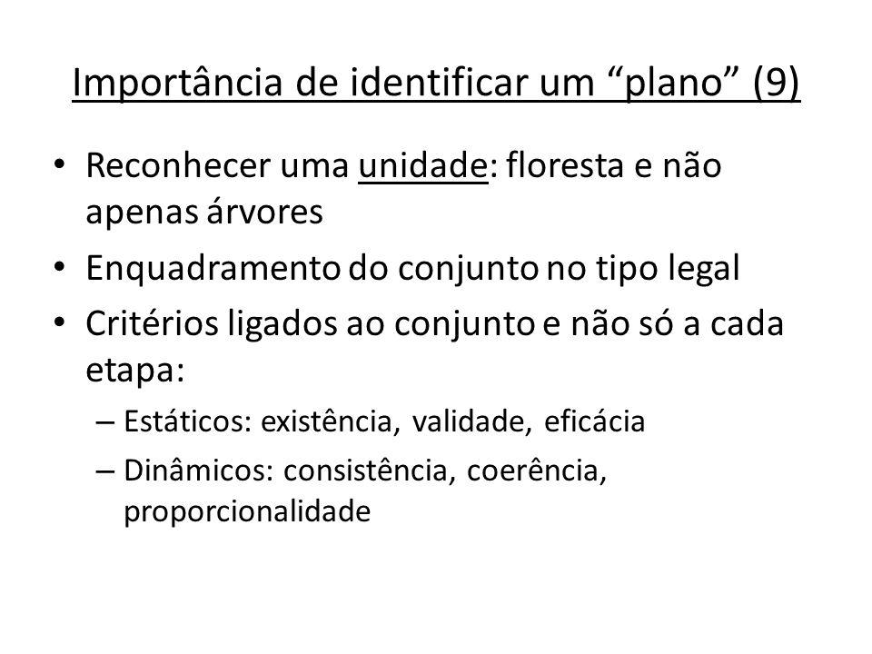 Importância de identificar um plano (9) Reconhecer uma unidade: floresta e não apenas árvores Enquadramento do conjunto no tipo legal Critérios ligado