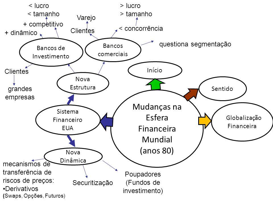 Mudanças na Esfera Financeira Mundial (anos 80) Globalização Financeira Início Sistema Financeiro EUA Nova Dinâmica mecanismos de transferência de ris