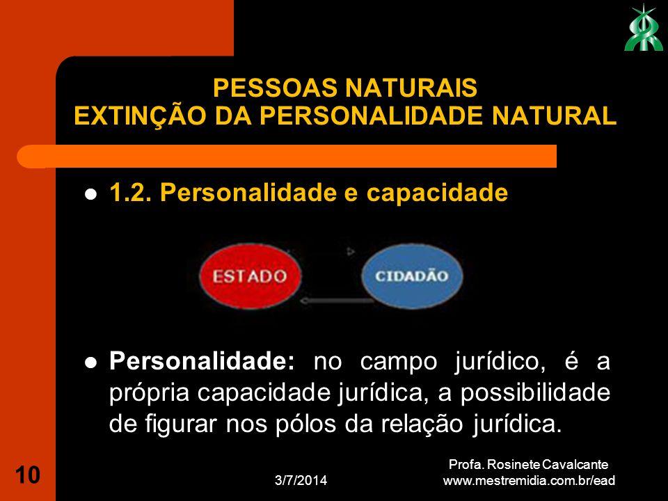 1.2. Personalidade e capacidade Personalidade: no campo jurídico, é a própria capacidade jurídica, a possibilidade de figurar nos pólos da relação jur