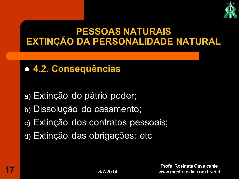 4.2. Consequências a) Extinção do pátrio poder; b) Dissolução do casamento; c) Extinção dos contratos pessoais; d) Extinção das obrigações; etc 3/7/20