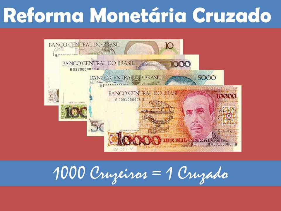 1000 Cruzeiros = 1 Cruzado Reforma Monetária Cruzado