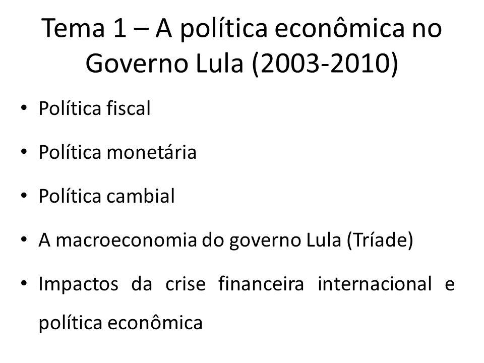 Tema 1 – A política econômica no Governo Lula (2003-2010) Política fiscal Política monetária Política cambial A macroeconomia do governo Lula (Tríade)